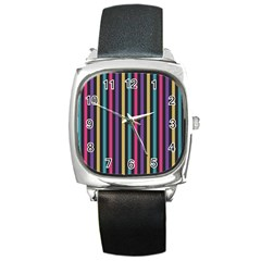 Stripes Colorful Multi Colored Bright Stripes Wallpaper Background Pattern Square Metal Watch by Simbadda