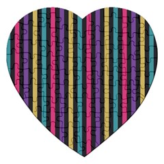 Stripes Colorful Multi Colored Bright Stripes Wallpaper Background Pattern Jigsaw Puzzle (heart) by Simbadda