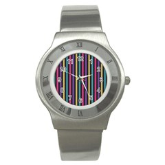 Stripes Colorful Multi Colored Bright Stripes Wallpaper Background Pattern Stainless Steel Watch by Simbadda