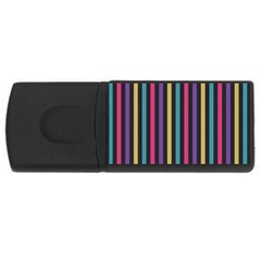 Stripes Colorful Multi Colored Bright Stripes Wallpaper Background Pattern Usb Flash Drive Rectangular (4 Gb) by Simbadda
