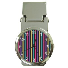 Stripes Colorful Multi Colored Bright Stripes Wallpaper Background Pattern Money Clip Watches by Simbadda