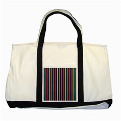 Stripes Colorful Multi Colored Bright Stripes Wallpaper Background Pattern Two Tone Tote Bag by Simbadda