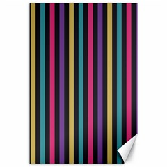 Stripes Colorful Multi Colored Bright Stripes Wallpaper Background Pattern Canvas 24  X 36  by Simbadda