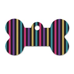 Stripes Colorful Multi Colored Bright Stripes Wallpaper Background Pattern Dog Tag Bone (one Side) by Simbadda