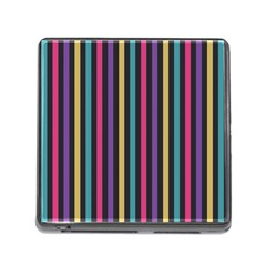 Stripes Colorful Multi Colored Bright Stripes Wallpaper Background Pattern Memory Card Reader (square)