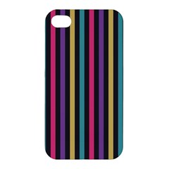 Stripes Colorful Multi Colored Bright Stripes Wallpaper Background Pattern Apple Iphone 4/4s Premium Hardshell Case by Simbadda