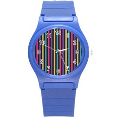 Stripes Colorful Multi Colored Bright Stripes Wallpaper Background Pattern Round Plastic Sport Watch (s) by Simbadda