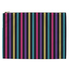 Stripes Colorful Multi Colored Bright Stripes Wallpaper Background Pattern Cosmetic Bag (xxl)  by Simbadda