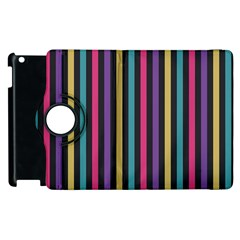 Stripes Colorful Multi Colored Bright Stripes Wallpaper Background Pattern Apple Ipad 3/4 Flip 360 Case