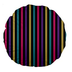Stripes Colorful Multi Colored Bright Stripes Wallpaper Background Pattern Large 18  Premium Round Cushions by Simbadda