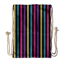 Stripes Colorful Multi Colored Bright Stripes Wallpaper Background Pattern Drawstring Bag (large)