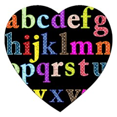 Alphabet Letters Colorful Polka Dots Letters In Lower Case Jigsaw Puzzle (heart) by Simbadda