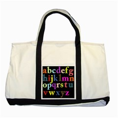 Alphabet Letters Colorful Polka Dots Letters In Lower Case Two Tone Tote Bag by Simbadda