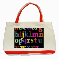 Alphabet Letters Colorful Polka Dots Letters In Lower Case Classic Tote Bag (red) by Simbadda