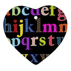 Alphabet Letters Colorful Polka Dots Letters In Lower Case Heart Ornament (two Sides) by Simbadda