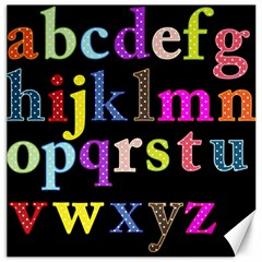 Alphabet Letters Colorful Polka Dots Letters In Lower Case Canvas 12  X 12   by Simbadda