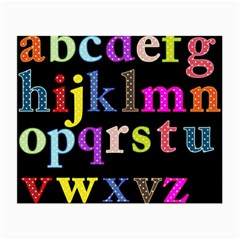 Alphabet Letters Colorful Polka Dots Letters In Lower Case Small Glasses Cloth (2 Side) by Simbadda