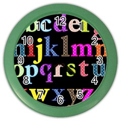 Alphabet Letters Colorful Polka Dots Letters In Lower Case Color Wall Clocks by Simbadda