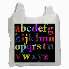 Alphabet Letters Colorful Polka Dots Letters In Lower Case Recycle Bag (one Side) by Simbadda