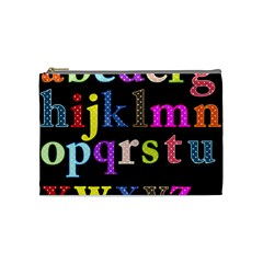 Alphabet Letters Colorful Polka Dots Letters In Lower Case Cosmetic Bag (medium)  by Simbadda