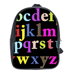 Alphabet Letters Colorful Polka Dots Letters In Lower Case School Bags(large)