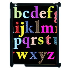 Alphabet Letters Colorful Polka Dots Letters In Lower Case Apple Ipad 2 Case (black)