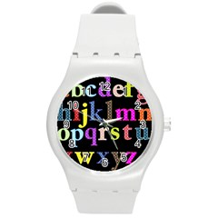 Alphabet Letters Colorful Polka Dots Letters In Lower Case Round Plastic Sport Watch (m) by Simbadda