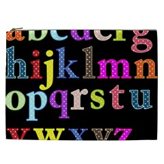 Alphabet Letters Colorful Polka Dots Letters In Lower Case Cosmetic Bag (xxl)  by Simbadda