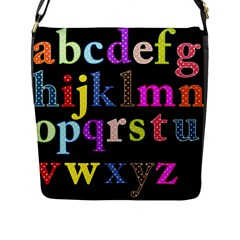 Alphabet Letters Colorful Polka Dots Letters In Lower Case Flap Messenger Bag (l)  by Simbadda