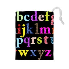 Alphabet Letters Colorful Polka Dots Letters In Lower Case Drawstring Pouches (large)  by Simbadda