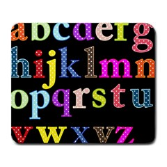 Alphabet Letters Colorful Polka Dots Letters In Lower Case Large Mousepads by Simbadda