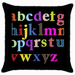 Alphabet Letters Colorful Polka Dots Letters In Lower Case Throw Pillow Case (black) by Simbadda