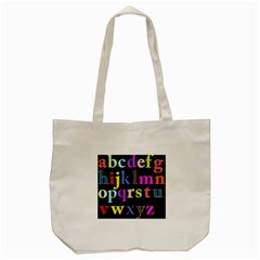 Alphabet Letters Colorful Polka Dots Letters In Lower Case Tote Bag (cream)