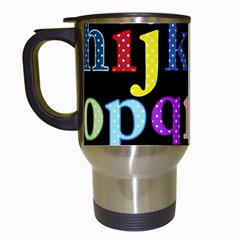 Alphabet Letters Colorful Polka Dots Letters In Lower Case Travel Mugs (white) by Simbadda