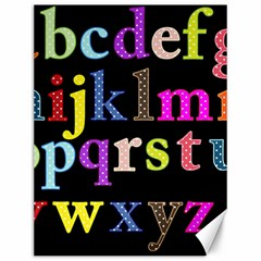 Alphabet Letters Colorful Polka Dots Letters In Lower Case Canvas 12  X 16   by Simbadda