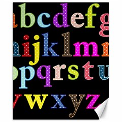 Alphabet Letters Colorful Polka Dots Letters In Lower Case Canvas 16  X 20
