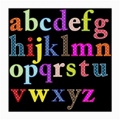 Alphabet Letters Colorful Polka Dots Letters In Lower Case Medium Glasses Cloth (2 Side) by Simbadda