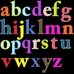 Alphabet Letters Colorful Polka Dots Letters In Lower Case Magic Photo Cubes by Simbadda