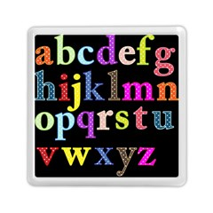 Alphabet Letters Colorful Polka Dots Letters In Lower Case Memory Card Reader (square)  by Simbadda