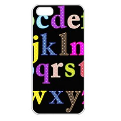 Alphabet Letters Colorful Polka Dots Letters In Lower Case Apple Iphone 5 Seamless Case (white) by Simbadda