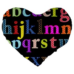 Alphabet Letters Colorful Polka Dots Letters In Lower Case Large 19  Premium Heart Shape Cushions by Simbadda
