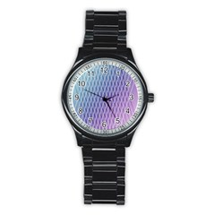 Abstract Lines Background Stainless Steel Round Watch