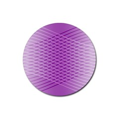 Abstract Lines Background Pattern Rubber Round Coaster (4 Pack)