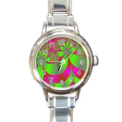 Green And Pink Fractal Round Italian Charm Watch by Simbadda