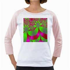 Green And Pink Fractal Girly Raglans
