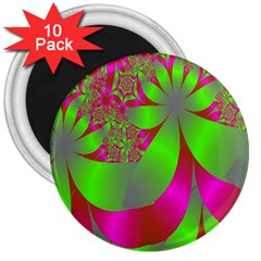 Green And Pink Fractal 3  Magnets (10 Pack)
