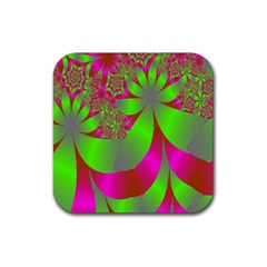 Green And Pink Fractal Rubber Coaster (square)