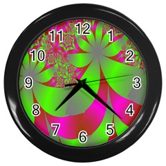 Green And Pink Fractal Wall Clocks (black) by Simbadda