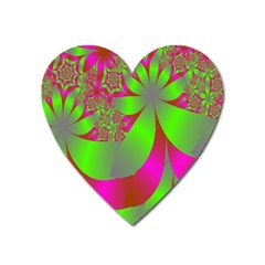 Green And Pink Fractal Heart Magnet by Simbadda