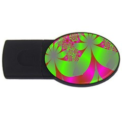 Green And Pink Fractal Usb Flash Drive Oval (4 Gb) by Simbadda